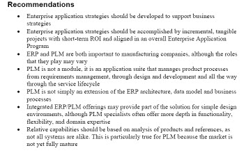ERP-PLM Recommendations