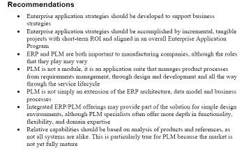 ERP-PLM Recommendations