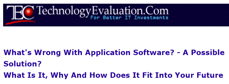 What's Wrong With Application Software?