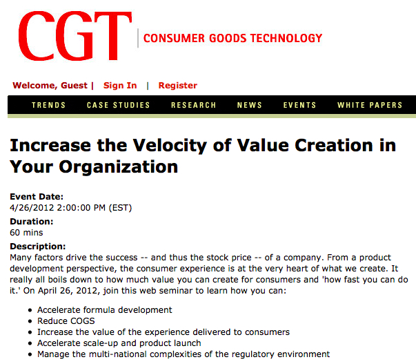 CGT Webcast on Improving Innovation and Value Creation despite Regulation in CPG
