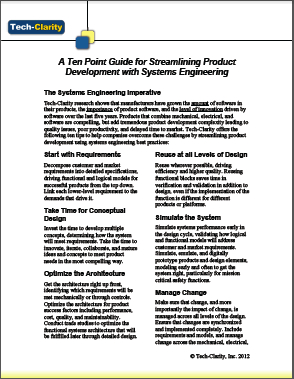 A Ten Point Guide for Streamlining Product Development with Systems Engineering
