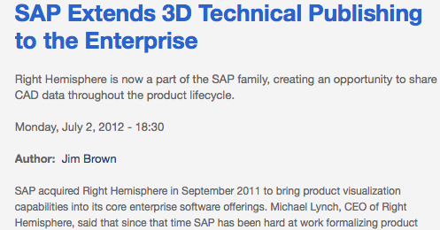 SAP Extends 3D Tech Pubs with Right Hemisphere