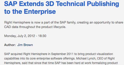 SAP Extends 3D Tech Pubs with Right Hemisphere
