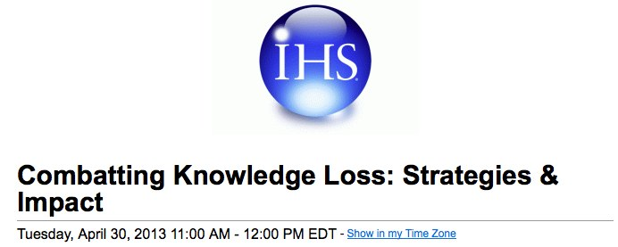 Webcast on Combating R&D Knowledge Loss