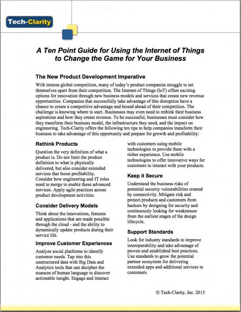 A Ten Point Guide for Using the Internet of Things to Change the Game for Your Business